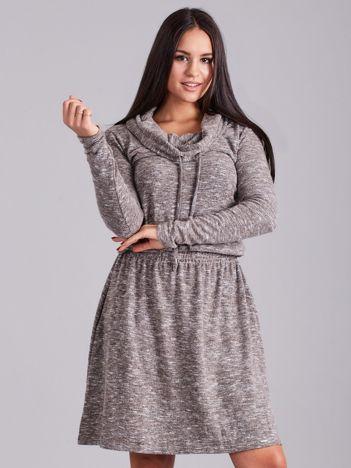 Szaro-beżowa melanżowa sukienka z troczkami