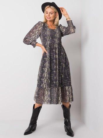 Szaro-beżowa sukienka Wonder OCH BELLA