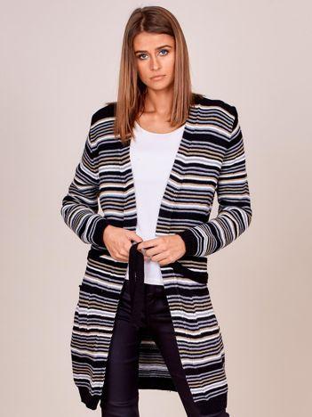 Szaro-beżowy sweter w paski z wiązaniem