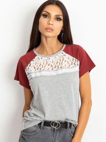 Szaro-bordowy t-shirt Euphoria