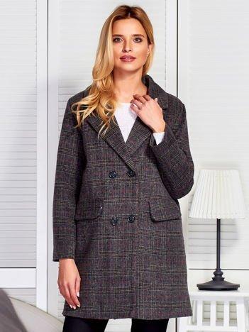 Szaro-brązowy dwurzędowy elegancki płaszcz w kratkę