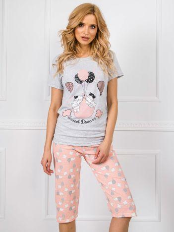Szaro-brzoskwiniowa piżama z nadrukiem