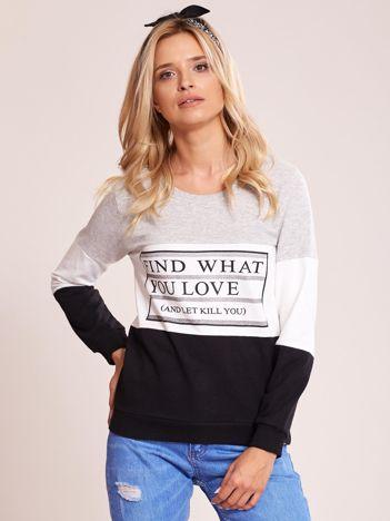 Szaro-czarna bawełniana bluza z nadrukiem tekstowym