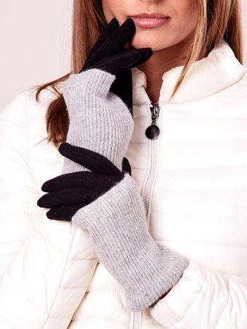 Szaro-czarne rękawiczki z ociepleniem i wełną
