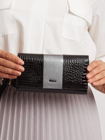 Szaro-czarny lakierowany portfel