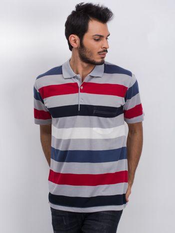 Szaro-granatowa męska koszulka polo Easier