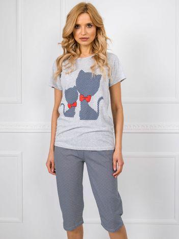 Szaro-granatowa piżama z nadrukiem