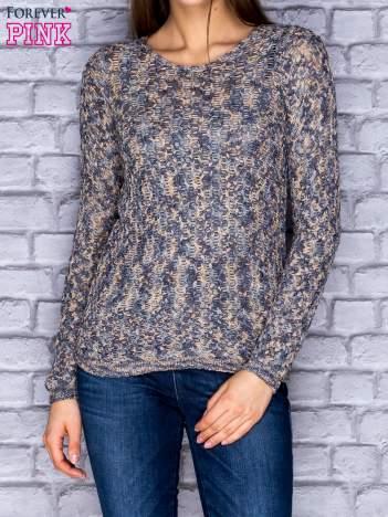 Szaro-granatowy melanżowy otwarty sweter