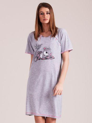 Szaro-jasnoróżowa koszula nocna do karmienia