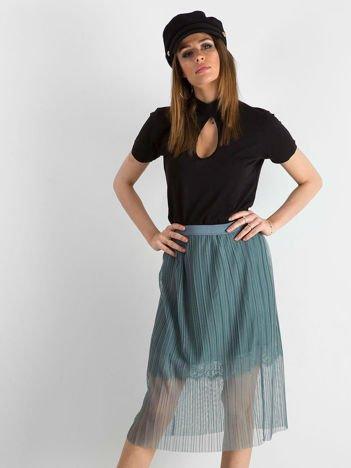 Szaro-niebieska zwiewna plisowana spódnica