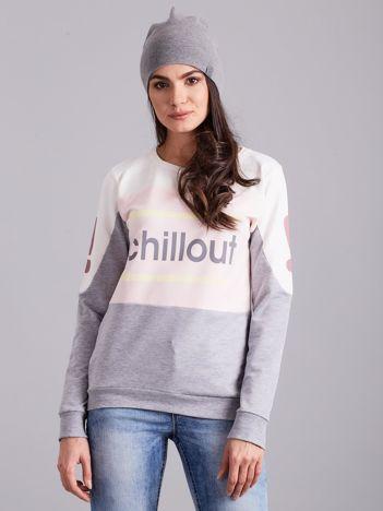 Szaro-różowa bluza bawełniana z napisem