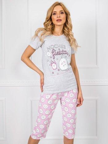 Szaro-różowa piżama z krótkim rękawem