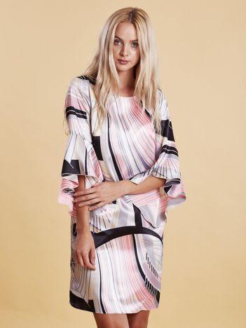 Szaro-różowa wzorzysta sukienka z szerokimi rękawami