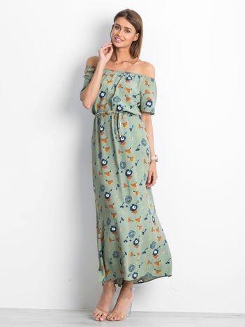 Szaro-zielona sukienka Voice