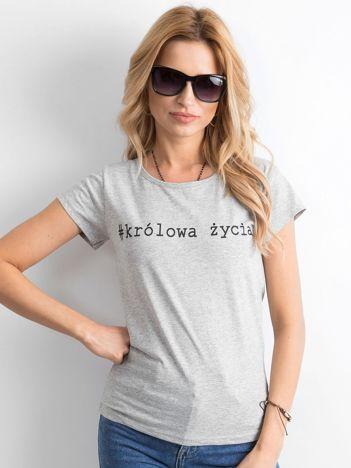 Szary damski t-shirt z napisem