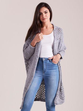 Szary długi ażurowy sweter