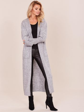 Szary długi sweter z szerokimi ściągaczami