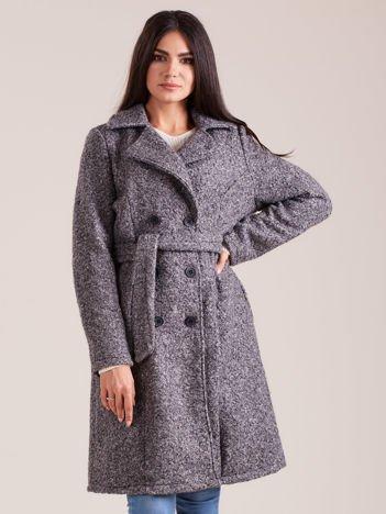 Szary dwurzędowy płaszcz boucle