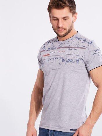 Szary męski t-shirt z bawełny