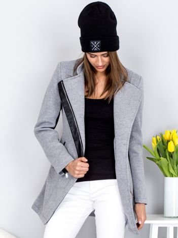 Szary płaszcz dresowy z lamówkami z eko skóry