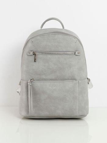 Szary plecak damski z kieszeniami