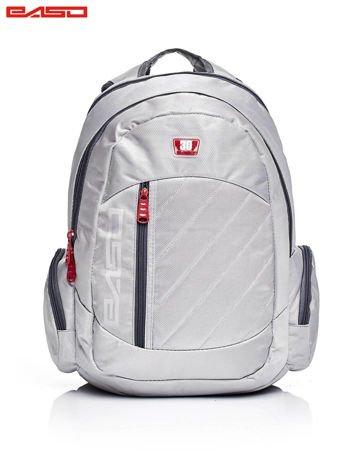 Szary plecak szkolny z pikowaniem
