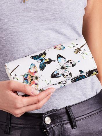 Szary portfel w kwiatowe desenie