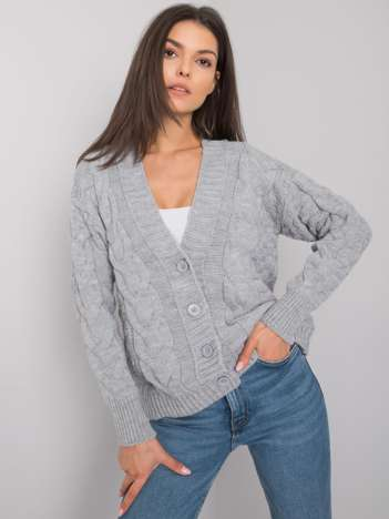 Szary rozpinany sweter w warkocze Danville RUE PARIS