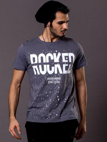 Szary t-shirt męski Rocked