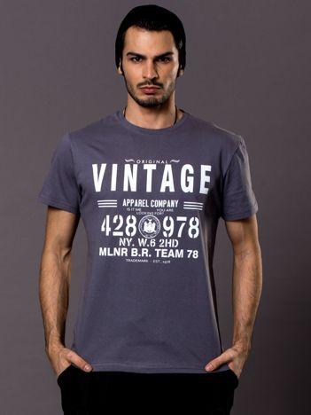 Szary t-shirt męski Vintage