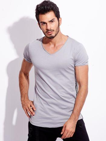 Szary t-shirt męski z lampasami