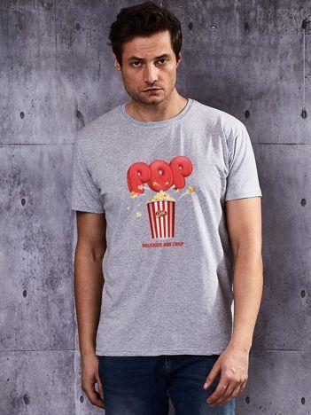 Szary t-shirt męski z motywem popcornu