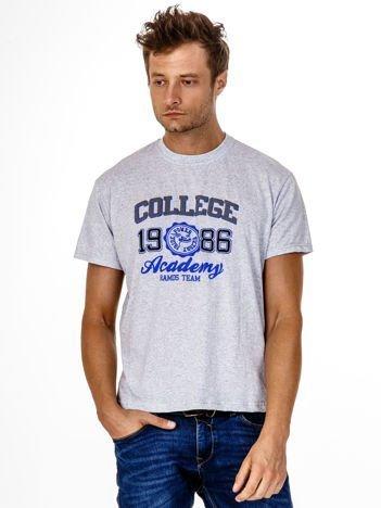 Szary t-shirt męski z nadrukiem i napisem COLLEGE 1986