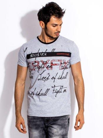 Szary t-shirt męski z tekstowym nadrukiem