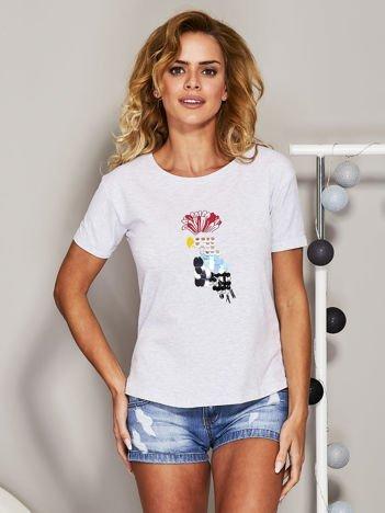Szary t-shirt z cekinowym ptakiem