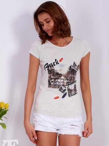 Szary t-shirt z motywem fotograficznym