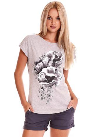 Szary t-shirt z motywem roślinnym