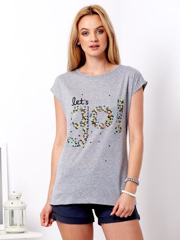 Szary t-shirt z napisem Let's go!