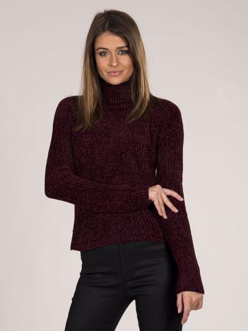 Szenilowy sweter z golfem bordowy