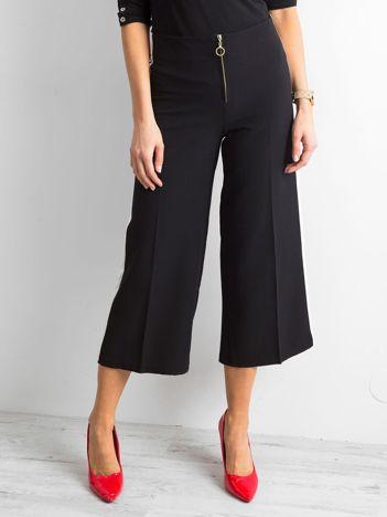 Szerokie spodnie z lampasami czarne