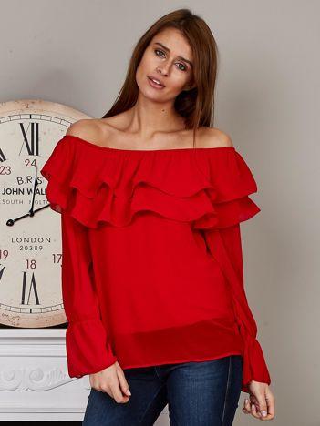 Szyfonowa bluzka hiszpanka z falbankami czerwona