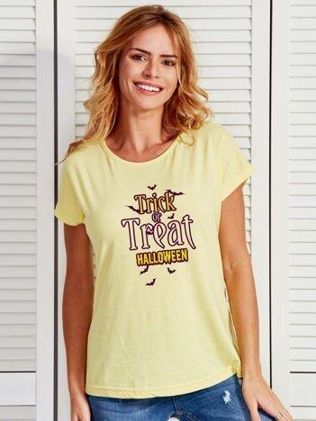 T-shirt Halloween z nadrukiem TRICK OR TREAT żółty