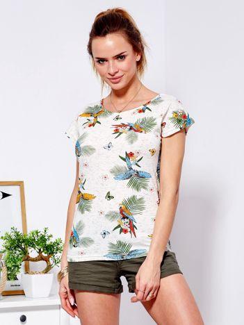 T-shirt beżowy exotic print