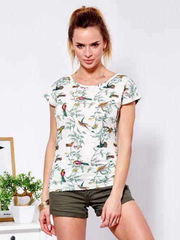 T-shirt beżowy w kolorowe ptaki