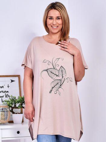 T-shirt beżowy z motywem roślinnym PLUS SIZE