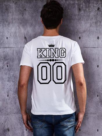 T-shirt biały męski dla par z nadrukiem KING z tyłu