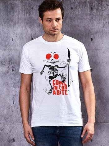 T-shirt biały męski z kościotrupem