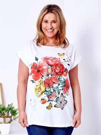 T-shirt biały z motywem kwiatowym i aniołkiem PLUS SIZE