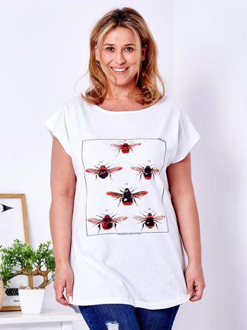 T-shirt biały z nadrukiem owadów PLUS SIZE