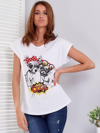 T-shirt biały z pieskami